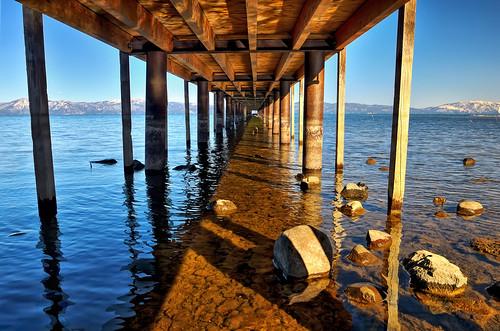 california ca blue sky lake nature water lines landscape pier vanishingpoint nikon tahoe laketahoe hdr d300 seeyousoon 5frames outstandingshots abigfave platinumphoto