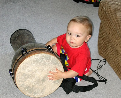 Playing Mom's Drum