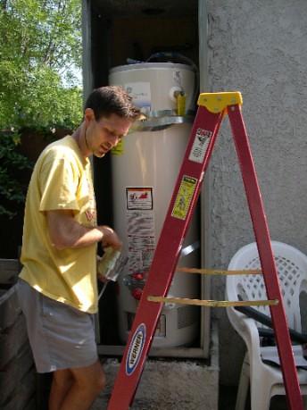 Steve fixing the heater