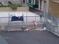 Final segment of ball court fence