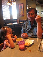 Grampa supervising Megan