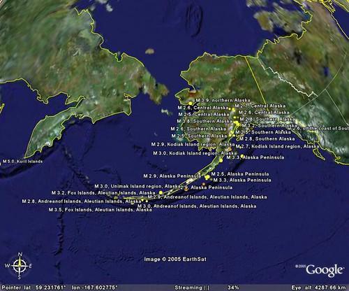 Recent Earthquakes near Alaska - Jul 23, 2005