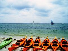 one green kayak