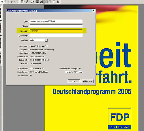 Wahlprogramm der FDP - Verfasser ist Praktikant