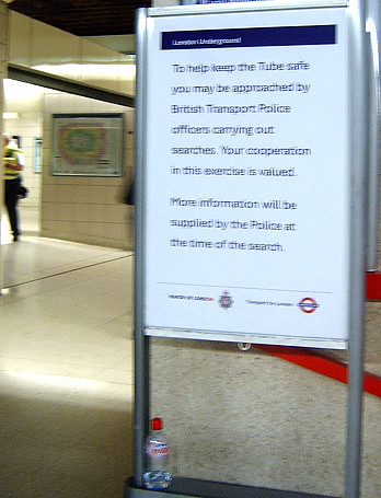 Stop and Search poster at Waterloo outside the Waterloo and City Line