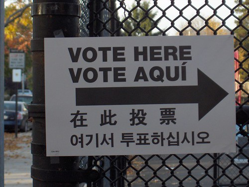 """-> Vote Here Vote Aquí ->"" by myJon is licensed under CC BY-NC-SA 2.0"