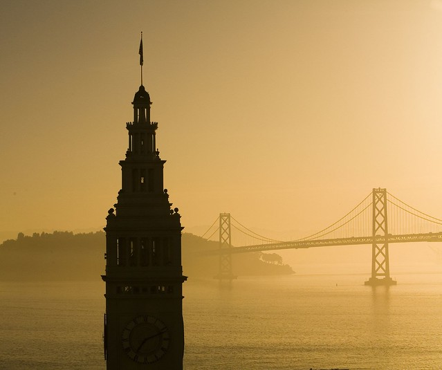 San Francisco Bay Bridge & Ferry Building at Sunrise