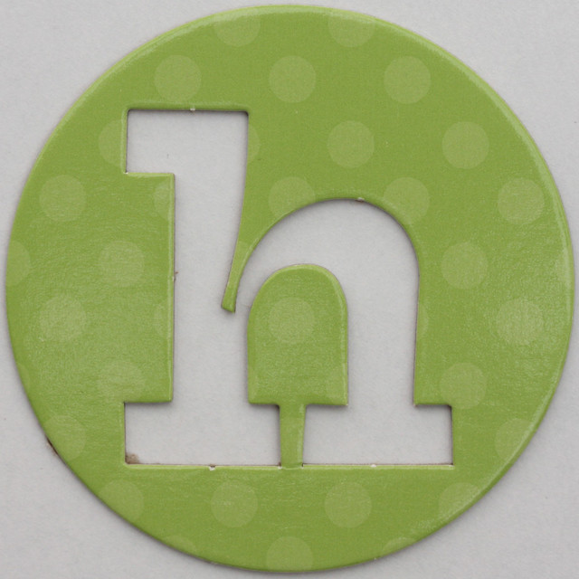 coloured card disc letter h