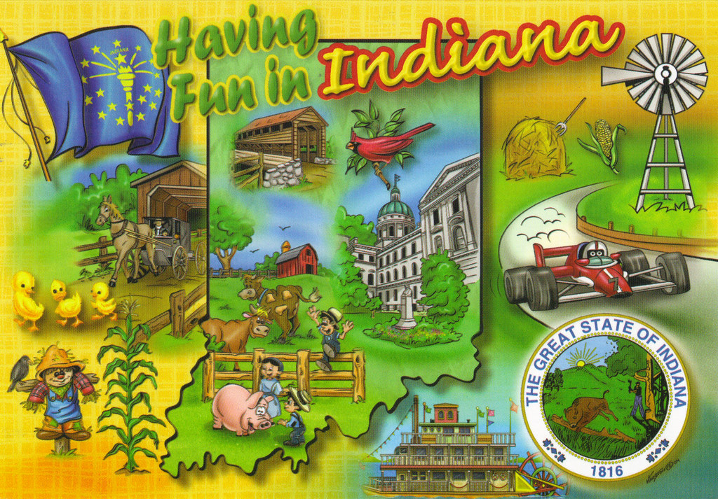 Indiana State Map Postcard on washington state map postcard, indiana state park campground maps, ohio state map postcard, indiana united states map,