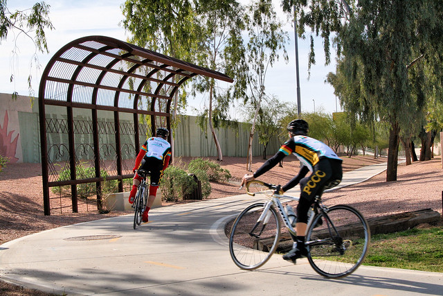 Cyclists Using Mult-Use Path in Scottsdale