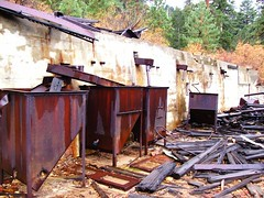 Rusted, abandoned mining equipment at the Tungstar Mine on Pine Creek, CA - pinecreek009