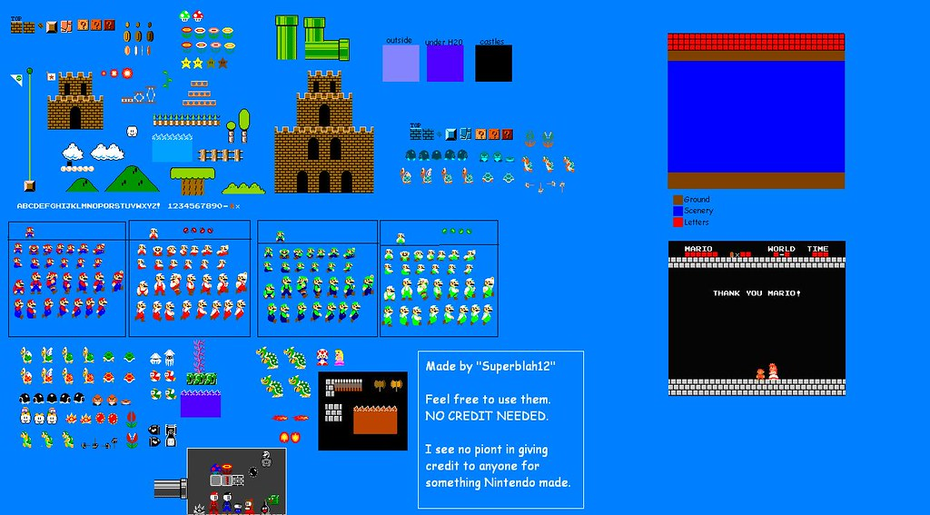 Complete customized Super mario bros Sprite Sheet | This she