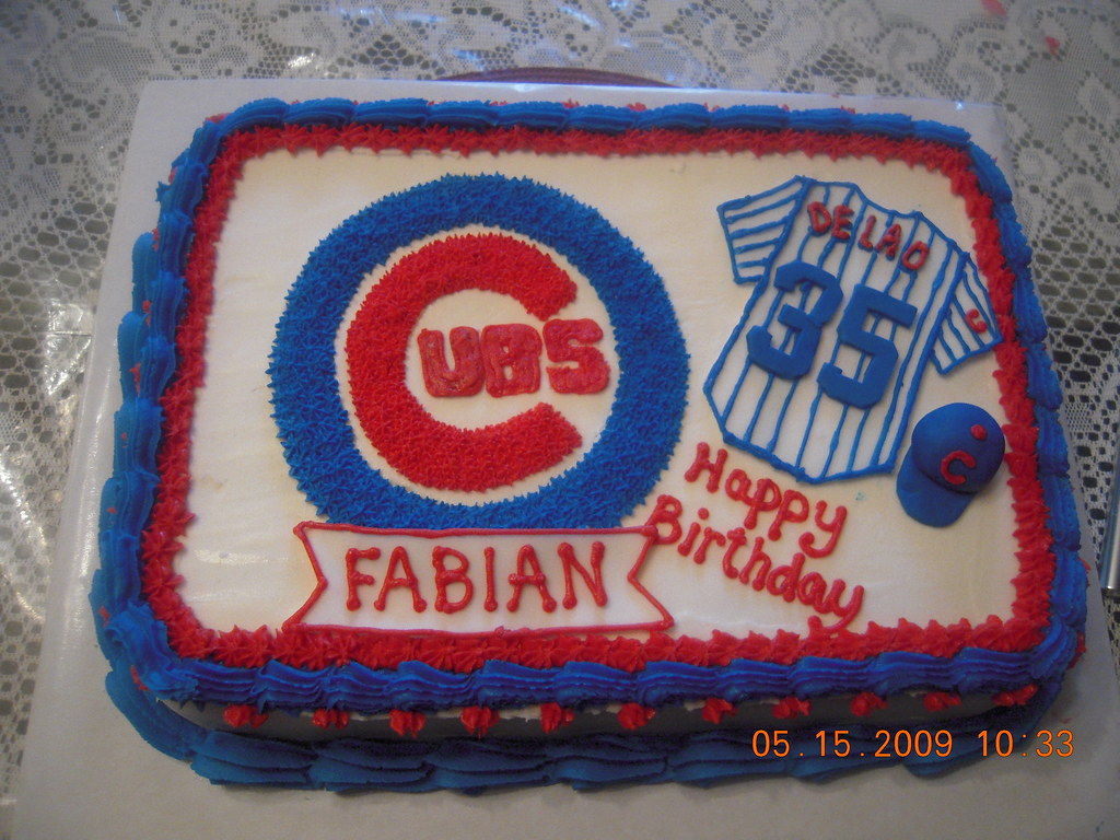 Sensational Chicago Cubs Cake Cake For Cubs Fan Jersey And Baseball C Flickr Funny Birthday Cards Online Ioscodamsfinfo