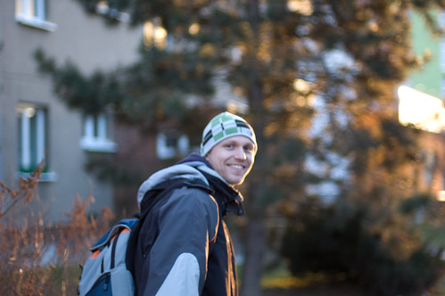 street city light sunset sun sunlight blur tree smile 50mm town walk f14 background pilsen jacket backpack czechrepublic nikkor plzen čechy českárepublika plzeň nikkor50mmf14af luboš