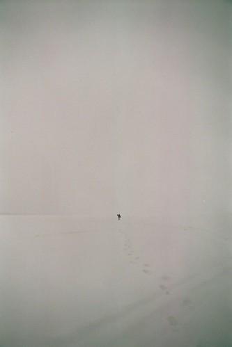 lake snow cold film wisconsin 35mm footprints wave far nikonfa thunderlake