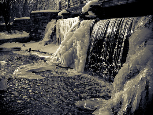 bridge winter lake snow chicago cold ice water river scott waterfall illinois bush midwest bricks suburbs forestpreserve palatine greatplains deergrove scottbush