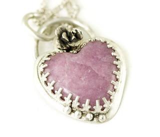 Lepidolite Heart Necklace