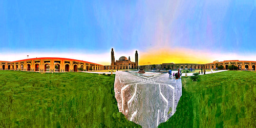360 architecture courtyard culture equirectangular fountain imran iphone iphone7 islam lahore mosque pakistan panorama spherical sunset travel travelogue winter