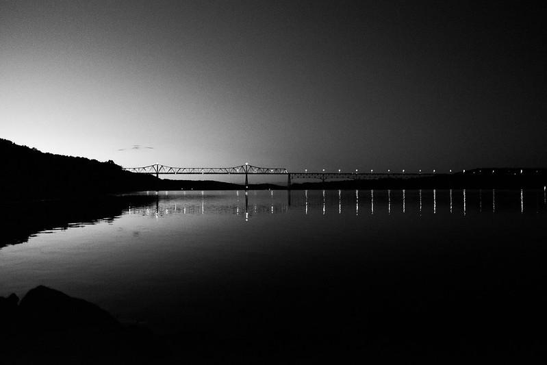 The Rip Van Winkle bridge after sunset