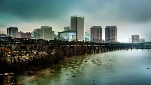 skyline downtown day cityscape cloudy gray richmond richmondva rva