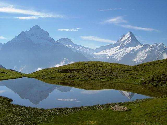 Wetterhorn + Schreckhorn ( Berg - Mountain ) spiegeln sich im Paradisseeli im Berner Oberland im Kanton Bern in der Schweiz