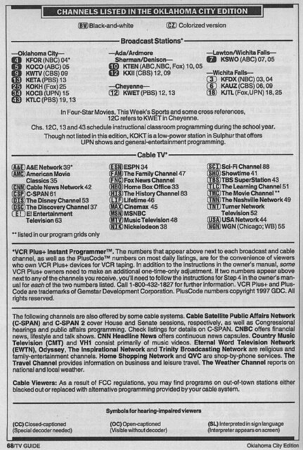 Oklahoma City Edition (October 11, 1997) | From my TV Guide