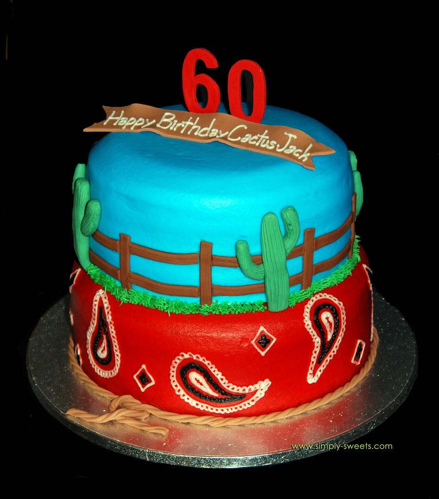Groovy Western Themed 60Th Birthday Cake Simply Sweets Com Flickr Funny Birthday Cards Online Alyptdamsfinfo