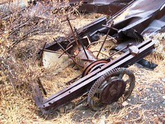 Abandoned equipment among the ruins of the Tungstar Mine at Pine Creek in the Eastern Sierras - pinecreek045