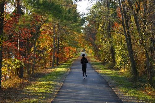 sunset fall colors northcarolina run greensboro trail jogger lakebrandt