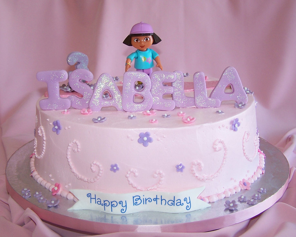 Tremendous Girly Birthday Cake Dora Happy Birthday Isabella Flickr Personalised Birthday Cards Beptaeletsinfo