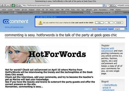 Commenting is sexy. HotForWords is the talk of the party at Geek Goes Chic | by Stephanie Booth