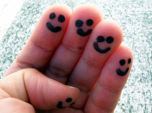 """Mission 172: """"This morning, draw small, happy faces on all your fingers, and a big smiley face on your tummy."""" 