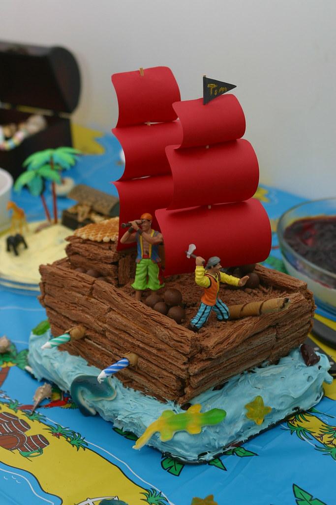 Terrific Pirate Ship Birthday Cake Birthday Cake For Tims 4Th Birt Flickr Personalised Birthday Cards Bromeletsinfo