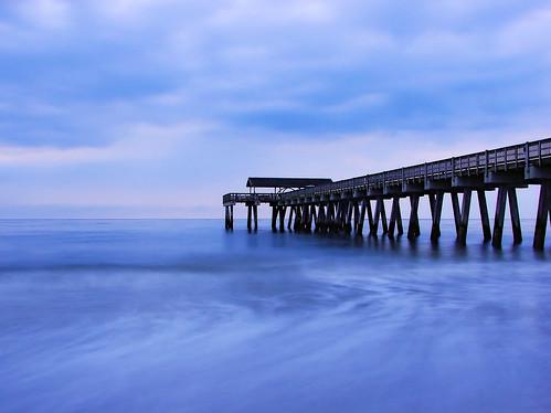 ocean longexposure sunrise pier tybeeisland