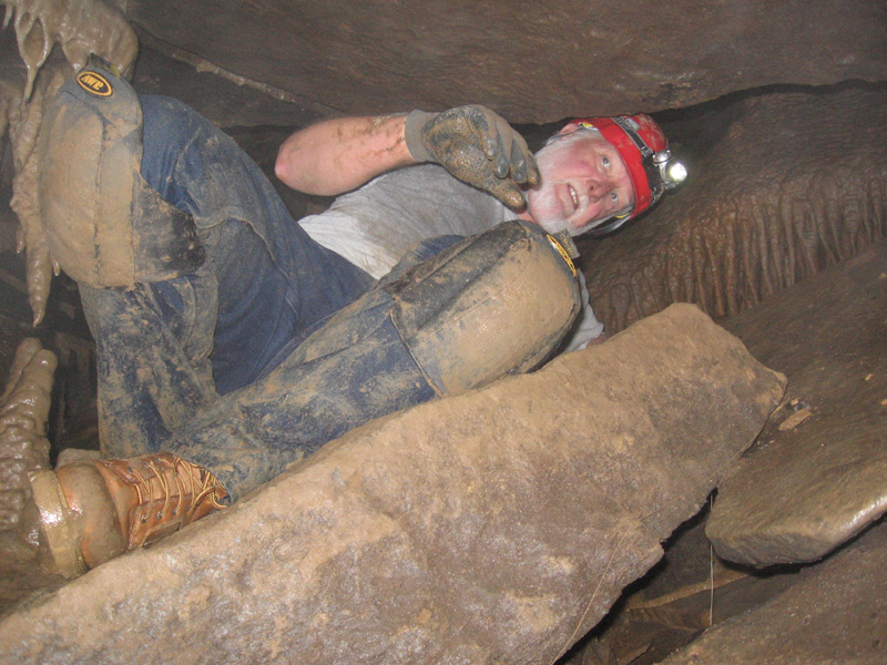 Quentin Squeezing in, Capshaw Cave, Cookeville, TN
