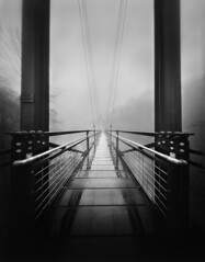 Foot Bridge in the Mist - 4x5 Film Pinhole Photograph
