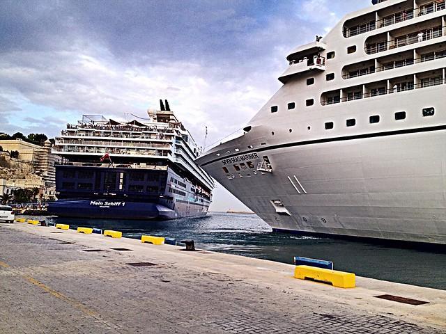 #Malta ... cruise ships ... Mein Schiff 1  and Seven Seas Mariner ...