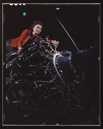 Woman at work on motor, Douglas Aircraft Company, Long Beach, Calif.  (LOC) | by The Library of Congress