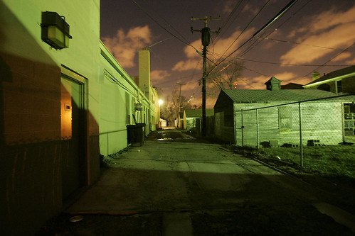 A dark Detroit alley   by Groovnick