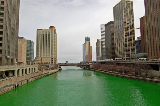 Green Chicago River looking toward the lake