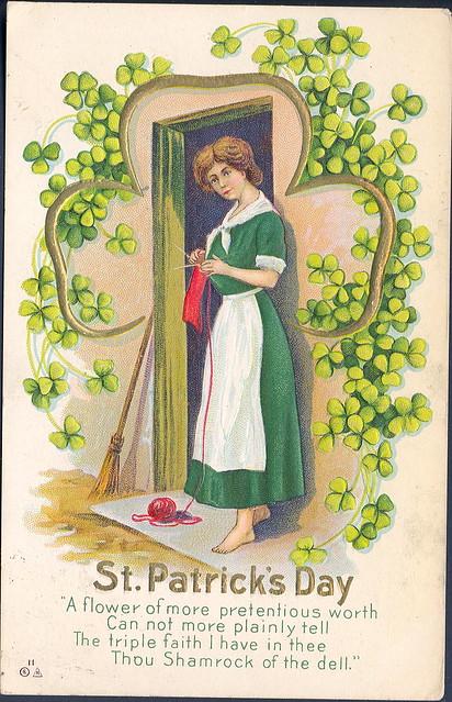 Irish Americana St Patricks Day LOVE Shamrock Girl 1912