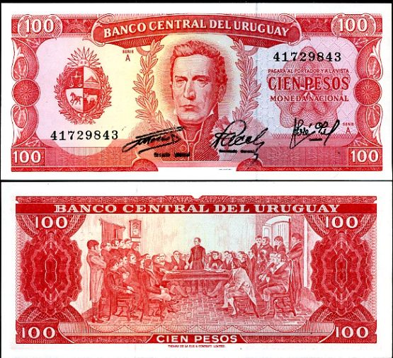 URUGUAY 100 PESOS 1967 P 47