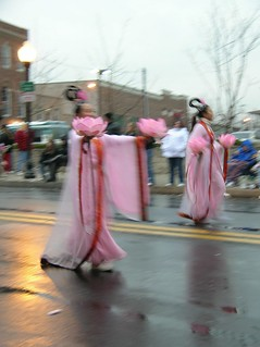 pink Chinese ladies with floating flowers