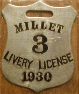 MILLET, ALBERTA 1930 ---LIVERY LICENSE