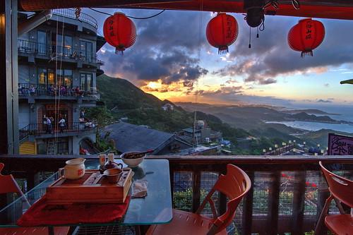 jiufen teahouse jiufenameiteahouse taiwan hdr sunset photomatix