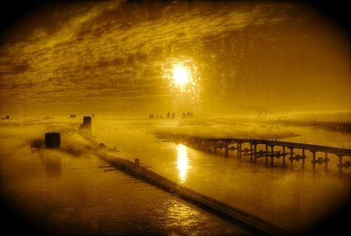 sunrise fog miami florida 200801 aerial bridge bridges bridging bridgepix bridgepixing sky clouds biscaynebay venetiancauseway macarthurcauseway watsonisland island harbor port foggy explore blueribbonwinner anawesomeshot southamerica cruise