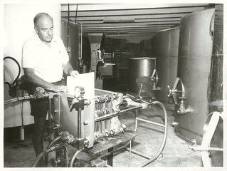 Lionel Collard, of Sutton Baron Vineyards, Lincoln Road, Henderson, inspects modern wine-making equipment in his winery