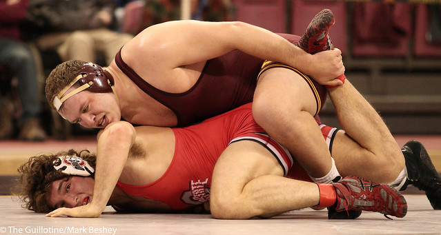 Hwt #8 Michael Kroells (Minnesota) tech fall Josh Fox (Ohio State) 20-5 (7:00)