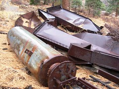 Abandoned, rusted equipment discarded at the former Tungstar Mine near Bishop, CA - pinecreek044