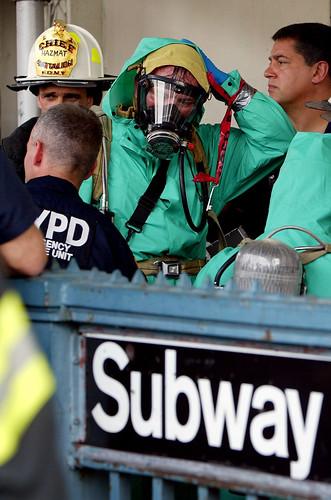 New York Fire Department Hazardous Materials (Hazmat) exits a subway station